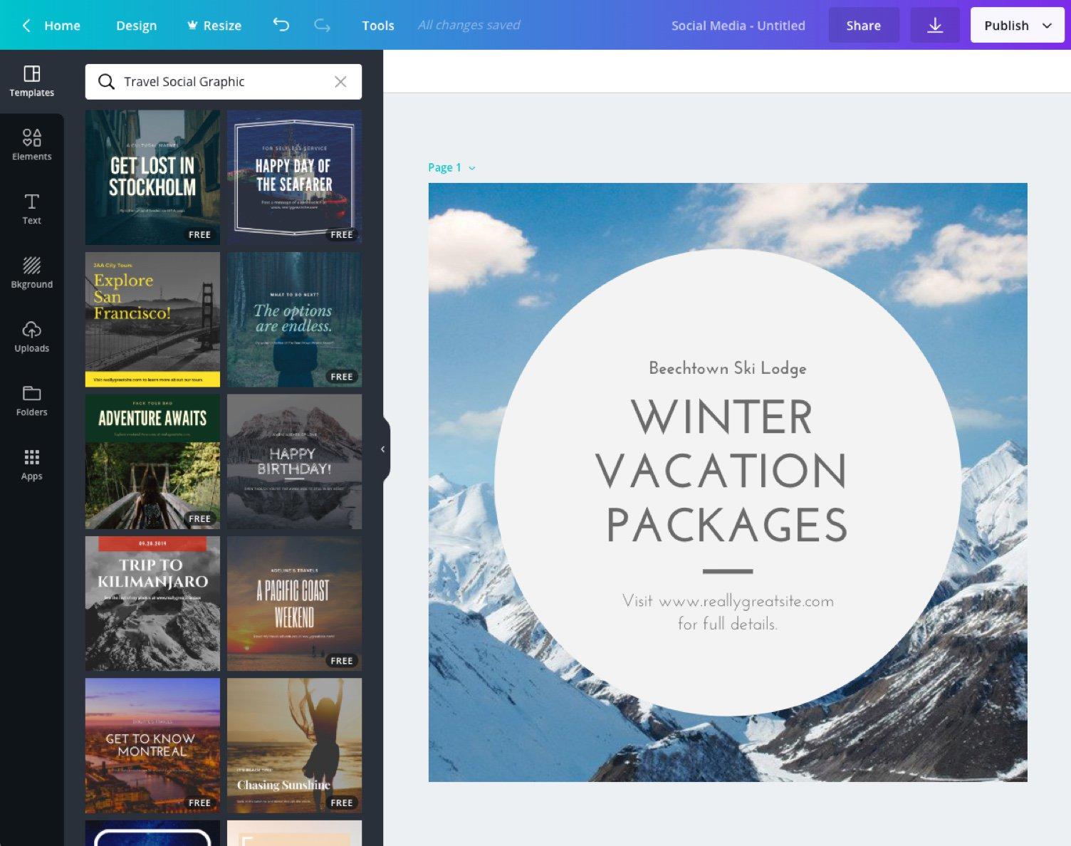 Graphic design tool - Canva